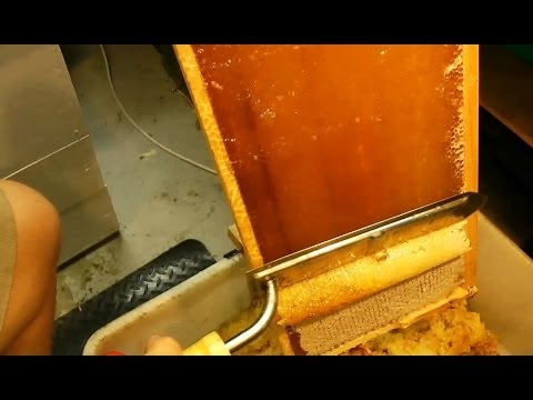 How to UNCAP a full honey frame fast with a hot knife - Beekeeping 101