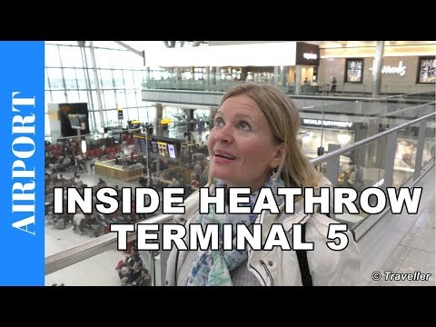 Inside Heathrow Airport Terminal 5 - Departing from London Heathrow Airport