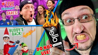 walmart-public-dares-livestream-don-t-buy-hello-charcoal-toothpaste-fv-family-buddy-the-elf-back