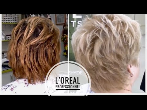 Clarification de la teinture de cheveux de L'Oréal Professionnel et de la coupe de cheveux de rasoir