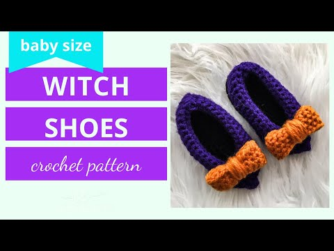 Witch Costume Baby Witch Shoes Crochet Tutorial Video | Baby Witch Shoes Crochet Tutorial