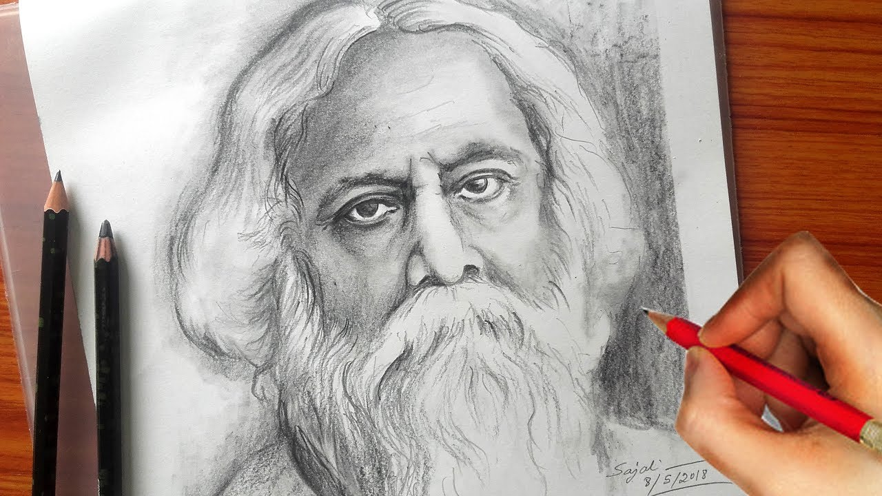 Drawing rabindranath tagore pencil sketch banglar art