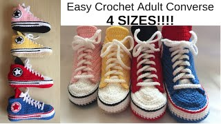 Easy Crochet Adult Converse. 4 SIZES!!!!