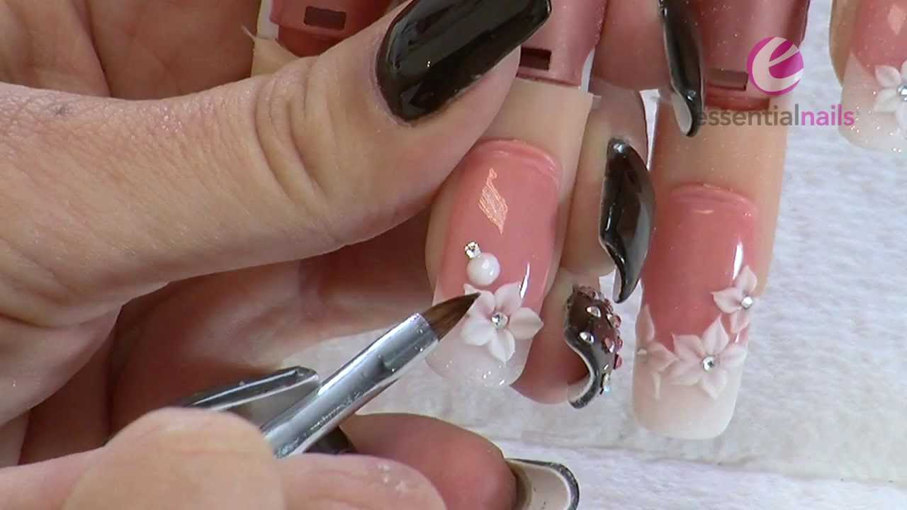 Kerry Benson - Wedding Flowers - Acrylic Nail Art Tutorial - YouTube
