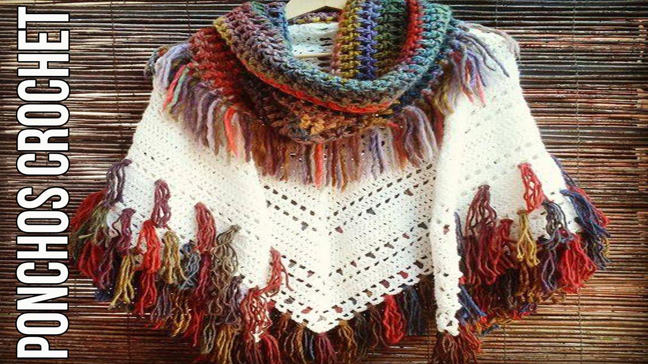 PONCHOS de mujer tejidos en crochet diseños imagenes - YouTube