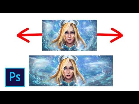 Как растянуть фон картинки (масштаб с учётом содержимого) в фотошопе