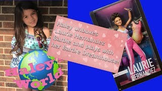Haley's World Episode3 - Unboxing of Laurie Hernandez Barbie and plays with Barbie Dreamhouse