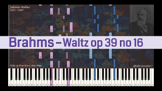 Johannes Brahms - Waltz op 39 no 16 | Synthesia Piano Tutorial | Library of Music