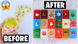 18 EXTREME HOLIDAY SLIME PALETTE MAKEOVERS! *fixing my 1 year old slime*