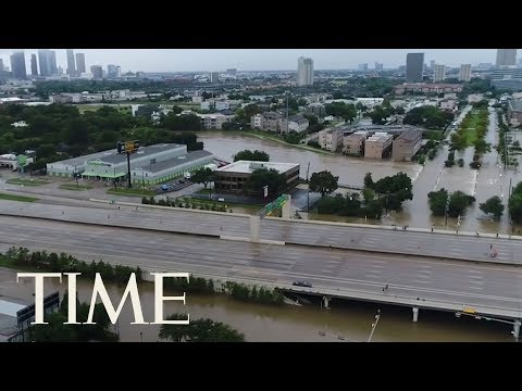 Drone Footage Captures Hurricane Harvey's Destruction In Houston, Before And After Flooding | TIME