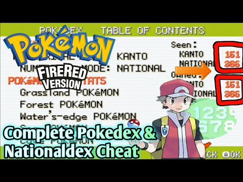 COMPLETE POKEDEX CHEAT FOR FIRE RED,LEAF GREEN,ASHGRAY || HOW TO COMPLETE POKEDEX IN FIRE RED ||