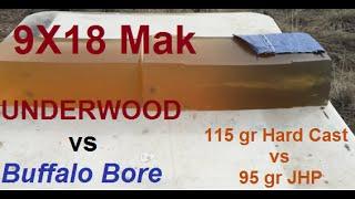 9X18 Underwood vs Buffalo Bore, 115 gr vs 95 gr