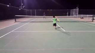 Andre (8) tennis practice using foam balls (Sept 2016)