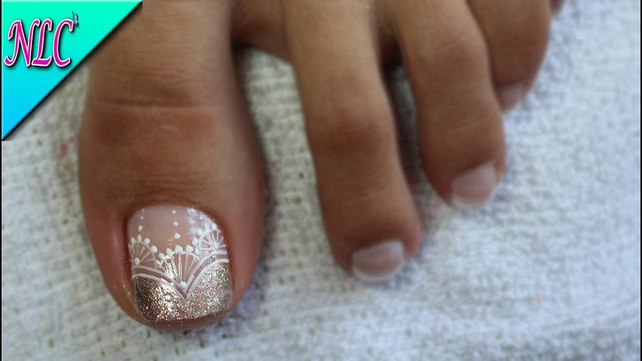 Decoración De Uñas Para Pies Encaje Y Francés French Nail Art