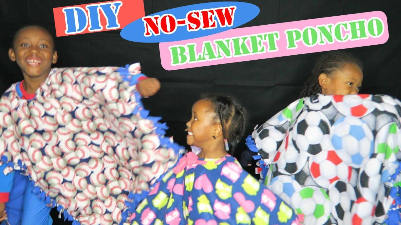DIY No Sew Poncho Blankets
