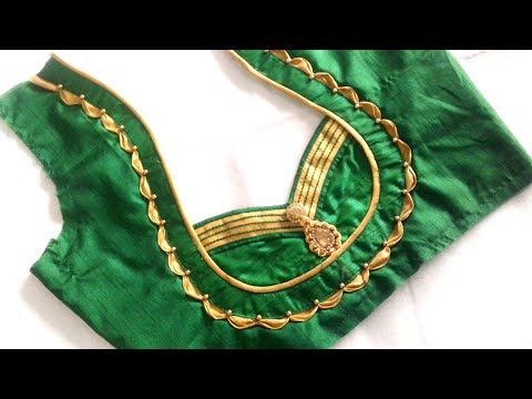 very beautiful neck design with Anchor thread cutting and stitching