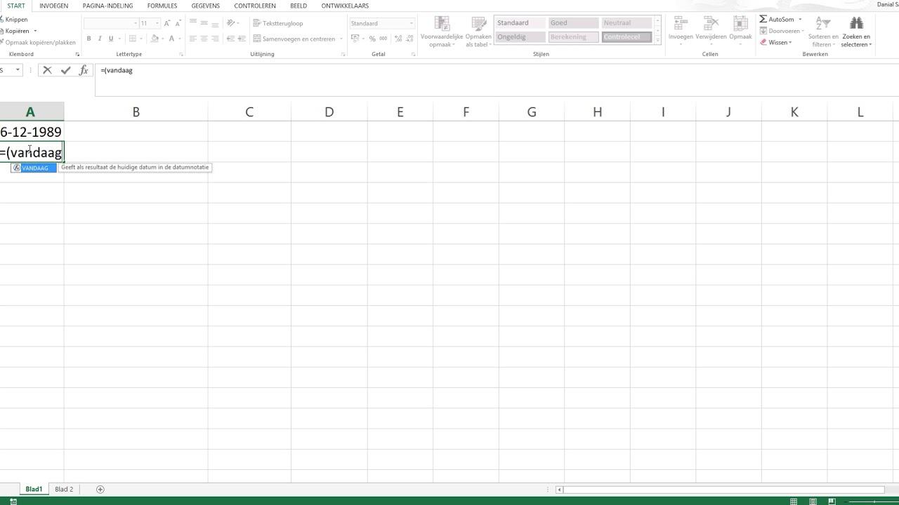 Hoe Bereken Ik Mijn Leeftijd In Excel Youtube