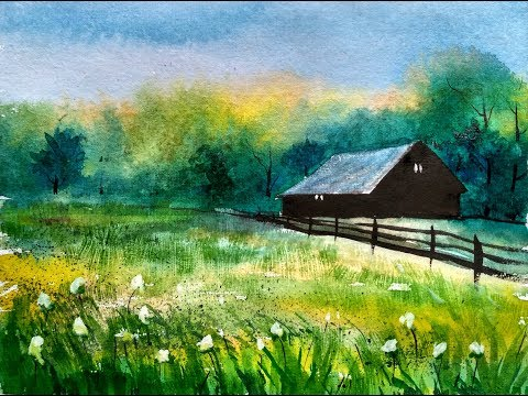 Farmhouse Cottage Watercolor Painting Demo Watercolor Farm | Paint with david