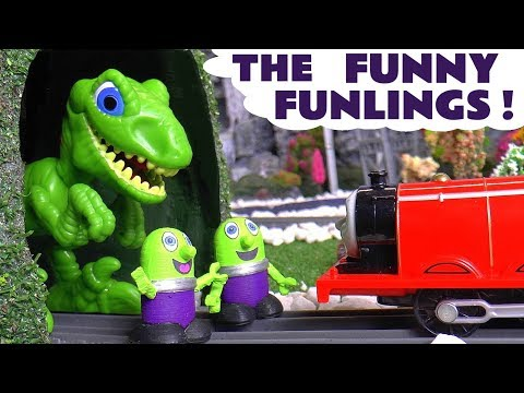 Funny Funlings Dinosaur Prank toy stories with Thomas and Friends toy trains & Cars McQueen TT4U