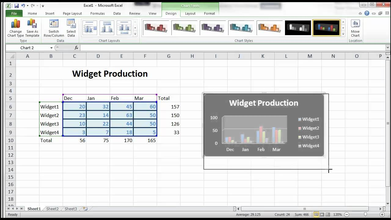 how to create sliding columns in excel