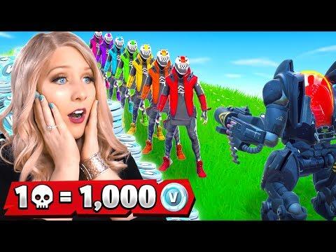 1 Elimination = 1,000 Free VBucks from MY WIFE! (Fortnite Challenge)