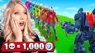 1 Elimination = 1,000 Free VBucks from MY WIFE! (Fortnite Challenge)