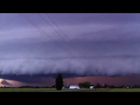 Huge, Supercell Thunderstorm Shelf Cloud Slicing Through Chatham-Kent, Essex, June 17, 2013, Monday