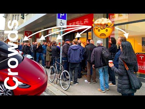 Tesla Model 3 Launch in Europe Attracts Massive Crowds | Zurich, Switzerland | CCS Plug confirmed!