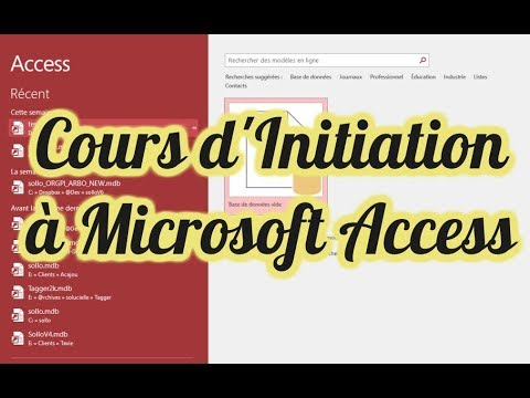 Cours Formation Initiation à Microsoft Access