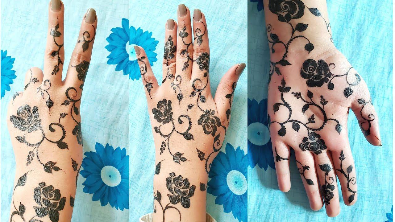 اجمل نقش ورد الجوري حناء للكف لل أمام وللخلف سهل وبيجنن Front Hand And Back Hand Mehndi Design Youtube