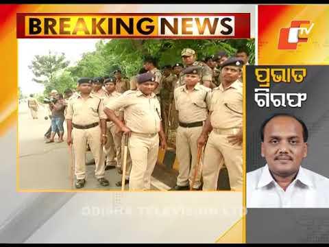 BJD protests arrest of MLA Prabhat Biswal in front of CBI office