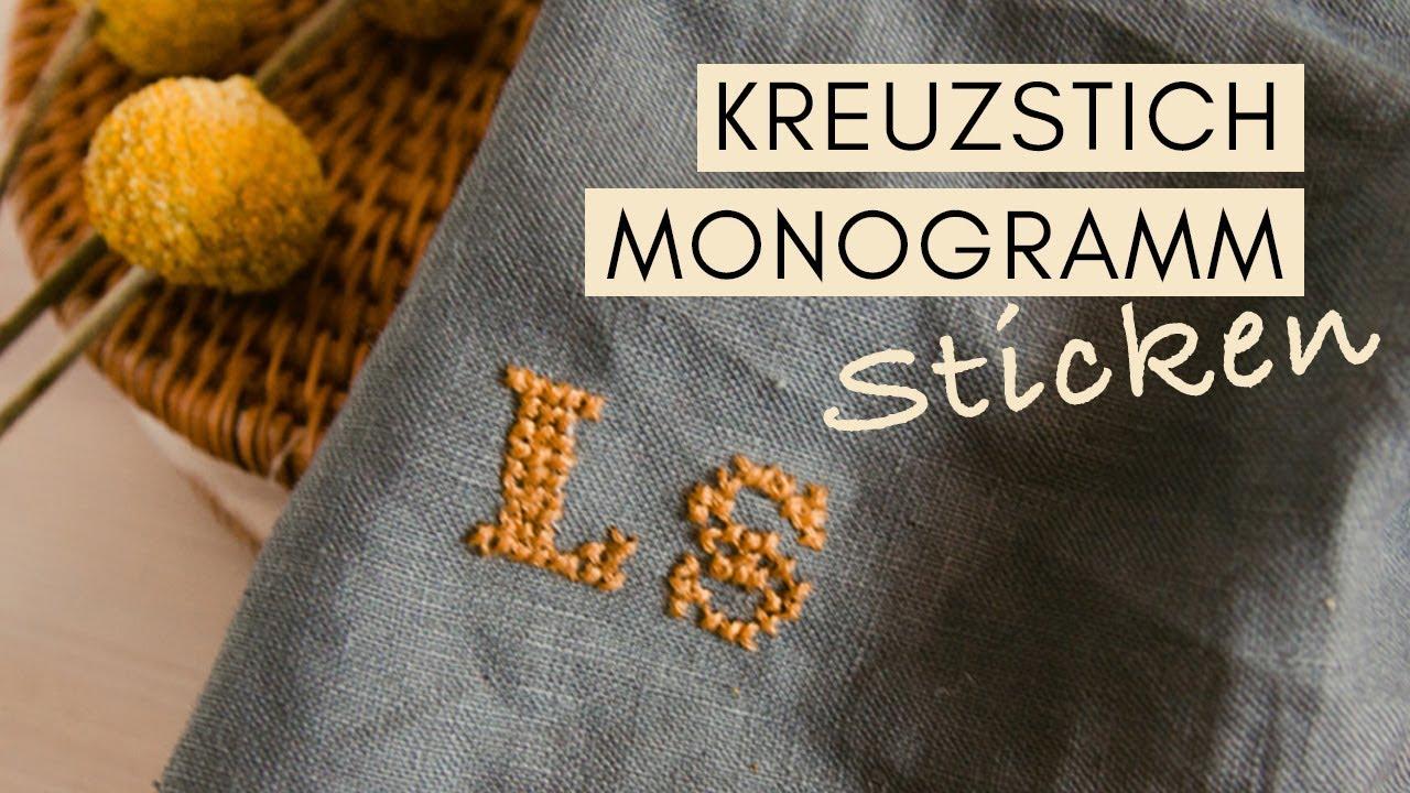 Bekannt Buchstaben sticken mit Kreuzstich - Sticken für Anfänger - YouTube VT43