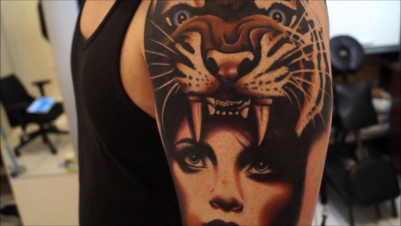 Chilli milli tattoo tiger naked girl c style tattoo for Topless tattoo girls