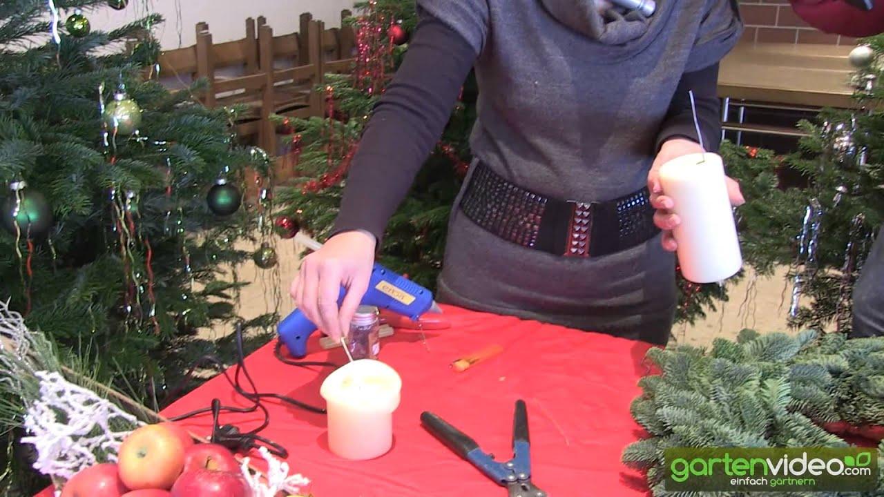 Kerzen auf adventskranz fixieren
