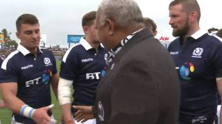 Fijian Prime Minister officiate at the Vodafone Flying Fijians Vs Scotland match.