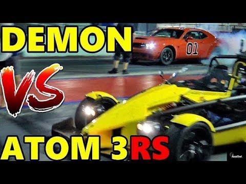 Dodge DEMON Vs ARIEL ATOM3 RS  !! 1/4 Mile Drag Race Video - RoadTest®