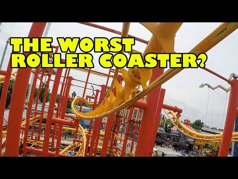 Completely AWFUL Volare Roller Coaster! Wiener Prater Austria Front Seat POV