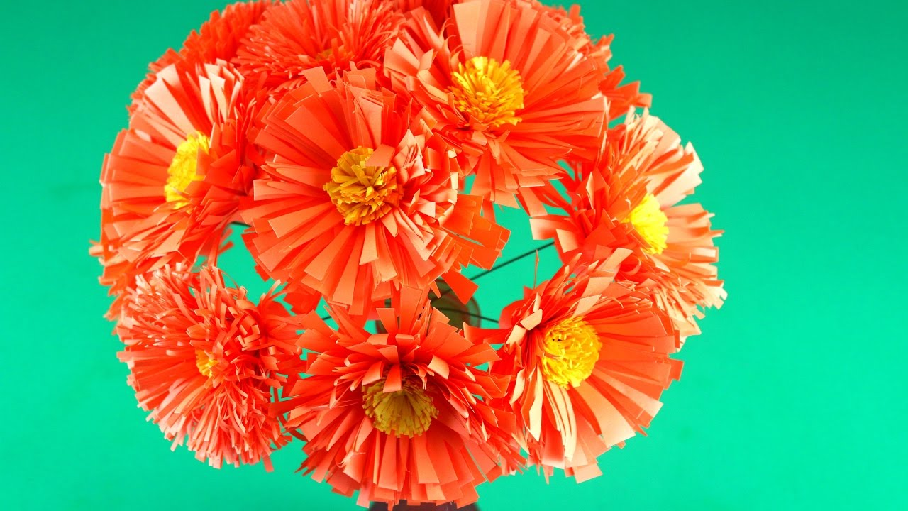 Very Easy Paper Flowers Just In Few Minutes Paper Marigold