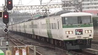 【迫力の15両】185系特急踊り子8号東京行戸塚駅高速通過!