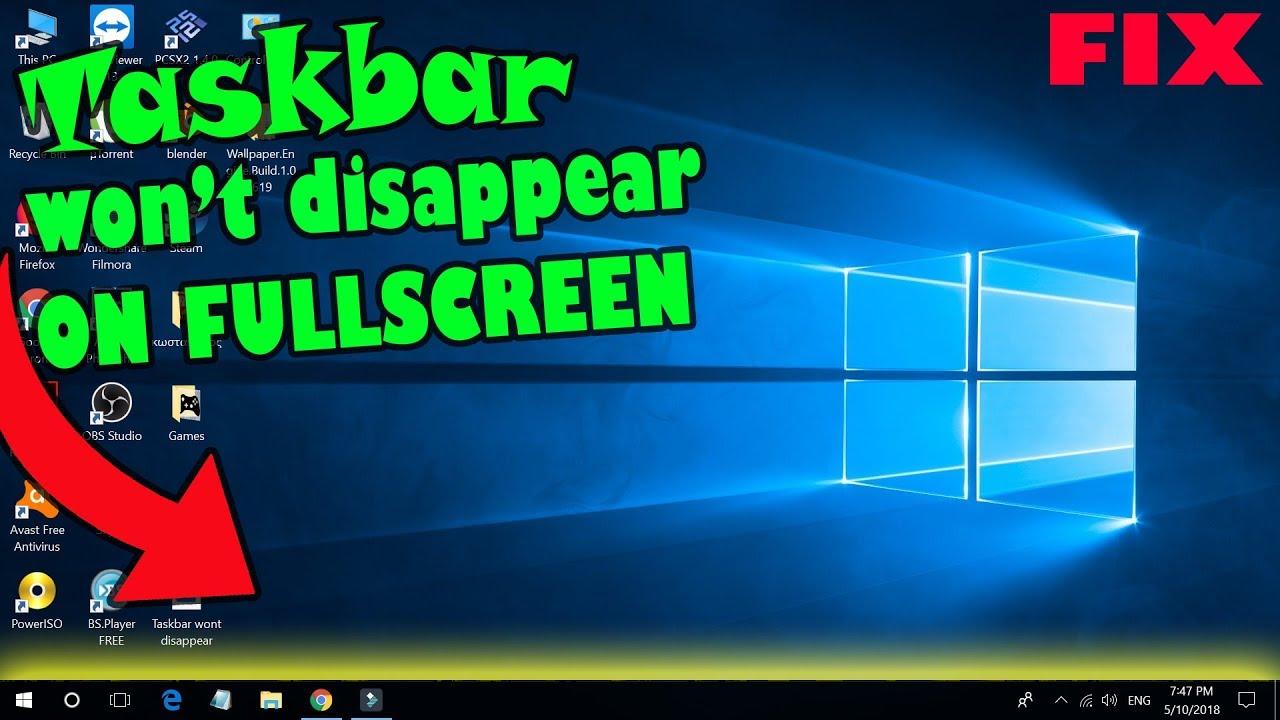 The taskbar won\u0027t disappear on FULLSCREEN (fix). - YouTube