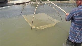 Рыбалка на паук и Кастинговую сеть под огромным водопадом