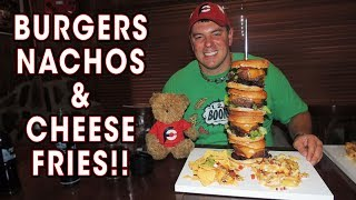 Quadruple Bourbon Burger Challenge w/ Nachos & Cheese Fries!!