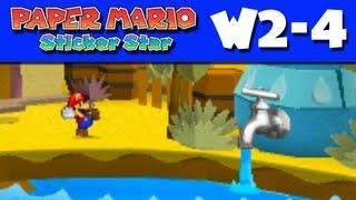 Paper Mario Sticker Star - Gameplay Walkthrough World 2-4 - Damp Oasis (Nintendo 3DS)