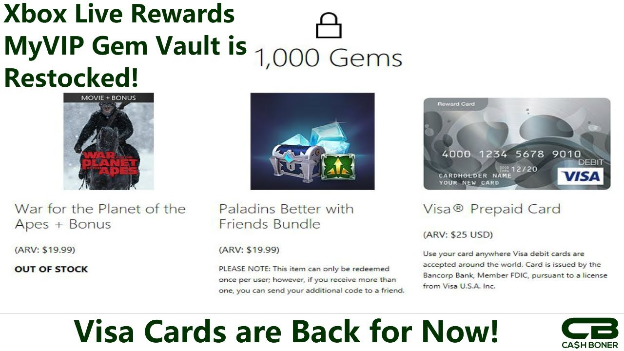 Xbox Live Rewards MyVIP Vault got Restocked with Visa Cards! Tips to Earn  More Gems to Redeem!