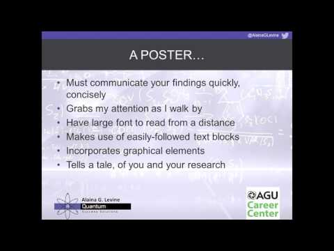 AGU Career Center: How to Design, Prepare and Present a Winning Poster