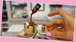 Mini PANCAKE cake, American breakfast, mini food, real mini cake, tiny food, Jenny's mini cooking