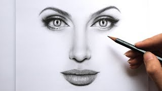 Drawing and Shading Female Face - Angelina Jolie