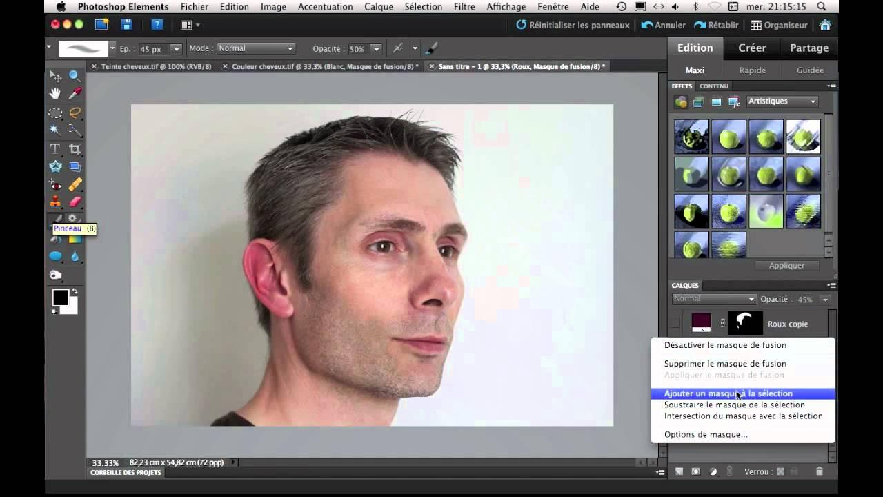 Changer la couleur de vos cheveux avec Photoshop Elements - YouTube