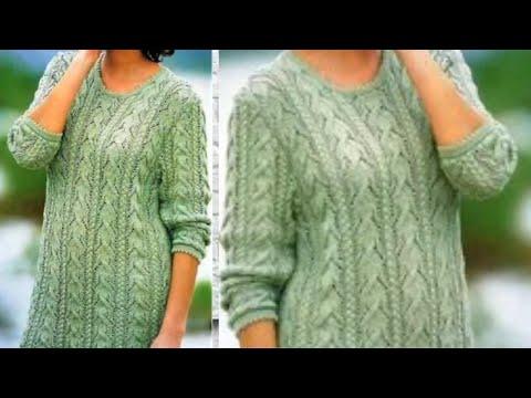 Женский пуловер спицами связанный