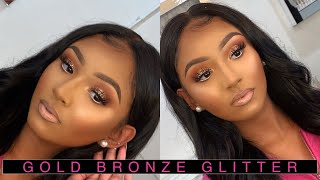 FALL GLITTER BRONZE/HOLIDAY MAKEUP TUTORIAL | NESSA